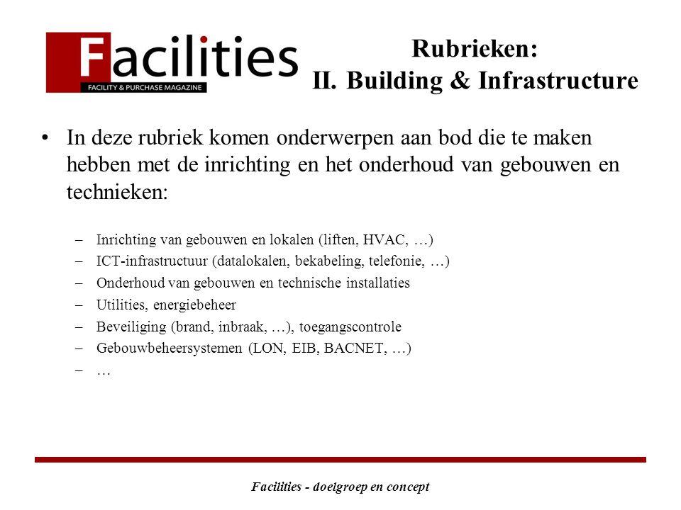 Facilities - doelgroep en concept Rubrieken: II.