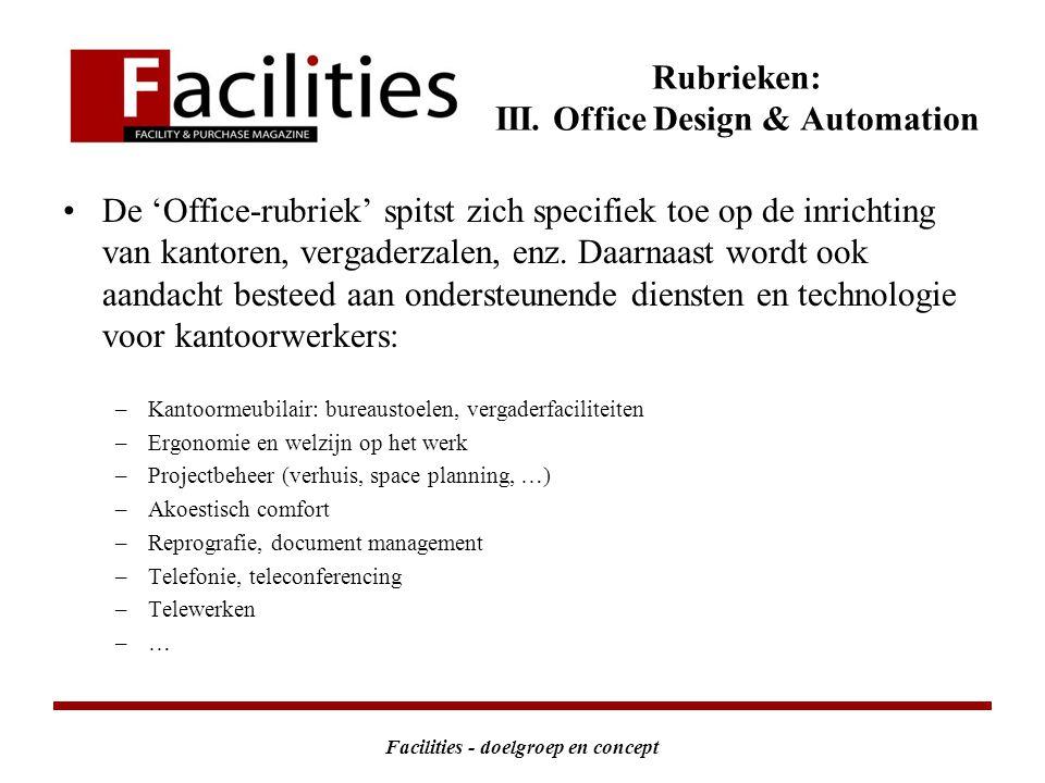 Facilities - doelgroep en concept Rubrieken: III.