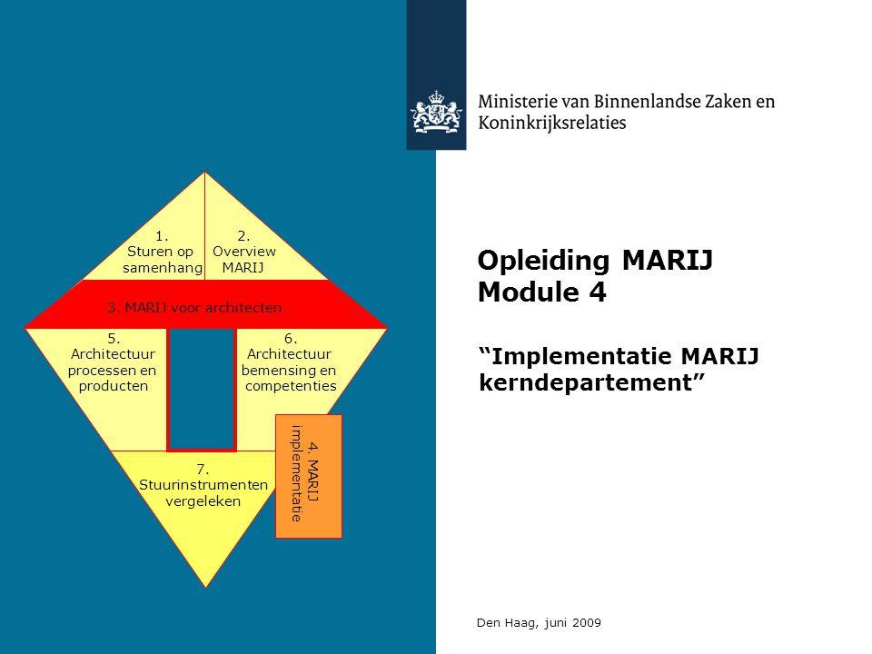 Opleiding MARIJ Module 4 Implementatie MARIJ kerndepartement Den Haag, juni 2009 3.