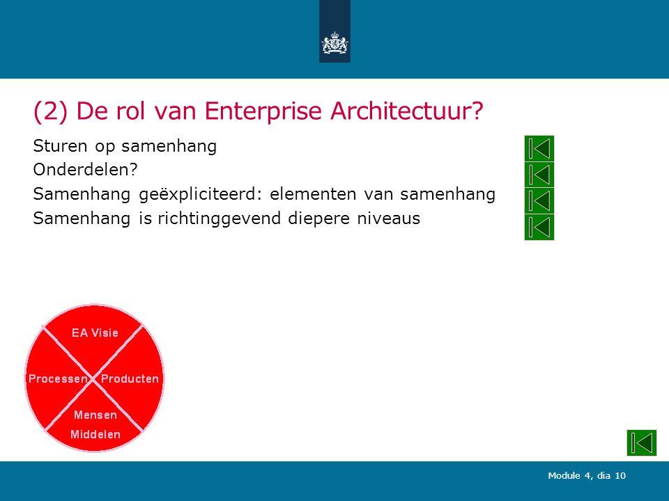 Module 4, dia 10 (2) De rol van Enterprise Architectuur.