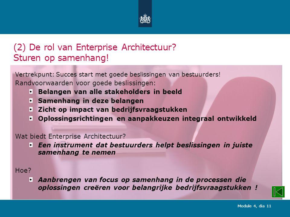 Module 4, dia 11 (2) De rol van Enterprise Architectuur.