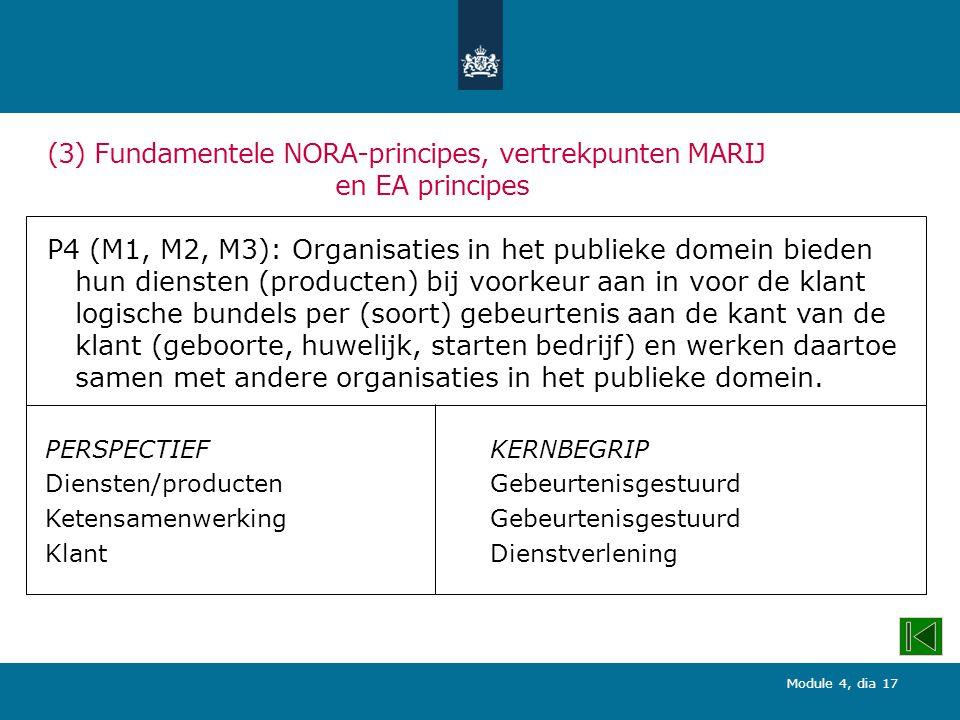 Module 4, dia 17 (3) Fundamentele NORA-principes, vertrekpunten MARIJ en EA principes P4 (M1, M2, M3): Organisaties in het publieke domein bieden hun diensten (producten) bij voorkeur aan in voor de klant logische bundels per (soort) gebeurtenis aan de kant van de klant (geboorte, huwelijk, starten bedrijf) en werken daartoe samen met andere organisaties in het publieke domein.
