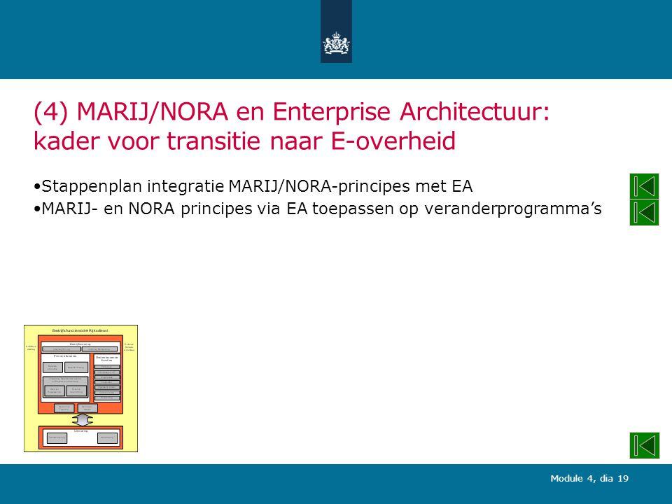 Module 4, dia 19 (4) MARIJ/NORA en Enterprise Architectuur: kader voor transitie naar E-overheid Stappenplan integratie MARIJ/NORA-principes met EA MARIJ- en NORA principes via EA toepassen op veranderprogramma's