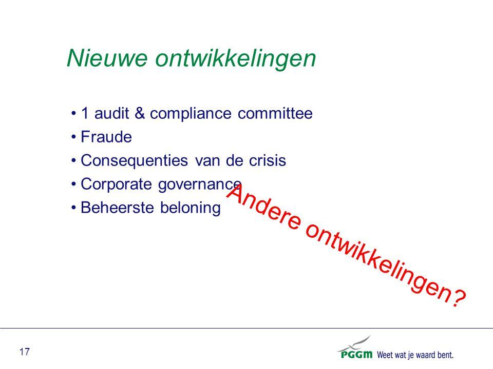 17 Nieuwe ontwikkelingen 1 audit & compliance committee Fraude Consequenties van de crisis Corporate governance Beheerste beloning Andere ontwikkeling