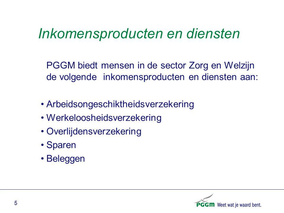 5 Inkomensproducten en diensten PGGM biedt mensen in de sector Zorg en Welzijn de volgende inkomensproducten en diensten aan: Arbeidsongeschiktheidsve