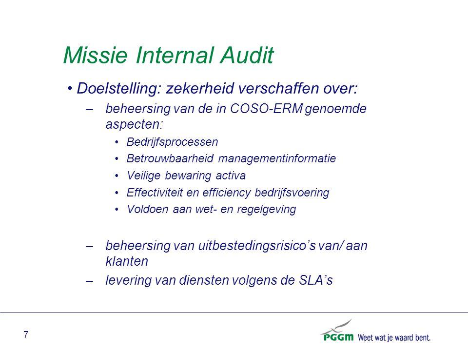 7 Missie Internal Audit Doelstelling: zekerheid verschaffen over: –beheersing van de in COSO-ERM genoemde aspecten: Bedrijfsprocessen Betrouwbaarheid