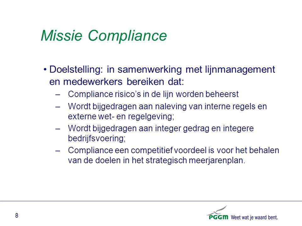 9 Definitie Compliance Binnen PGGM wordt onder Compliance verstaan: het geheel van maatregelen dat zich richt op de implementatie, handhaving en naleving van externe wet- en regelgeving, evenals op principes van goede governance, interne procedures en gedragsregels, met als doel te voorkomen dat de reputatie en integriteit van PGGM wordt aangetast .