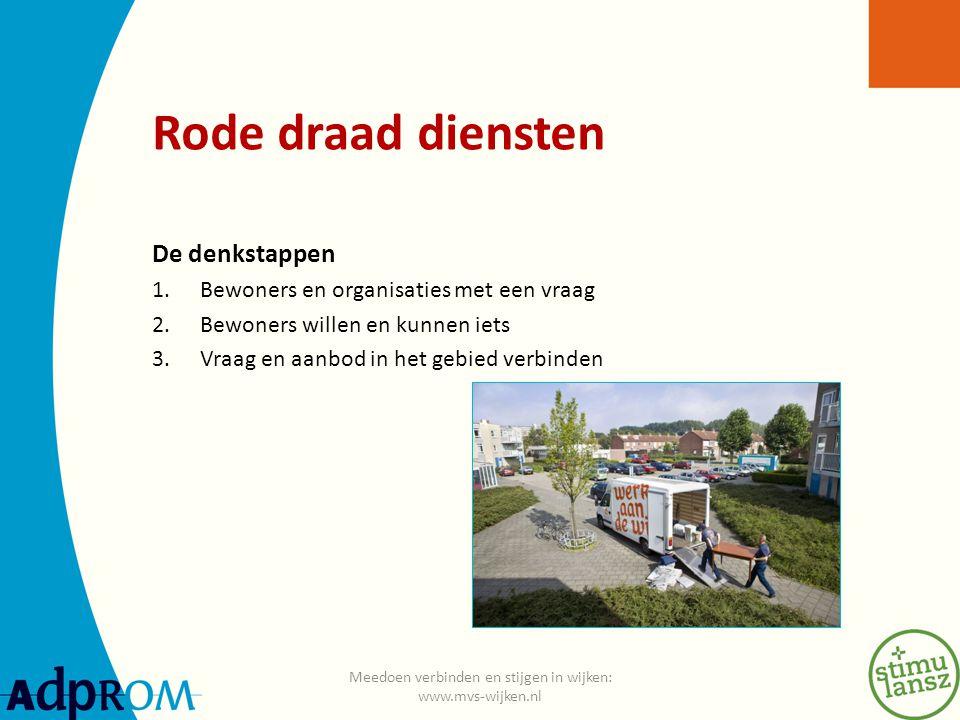 Rode draad diensten De denkstappen 1.Bewoners en organisaties met een vraag 2.Bewoners willen en kunnen iets 3.Vraag en aanbod in het gebied verbinden Meedoen verbinden en stijgen in wijken: www.mvs-wijken.nl