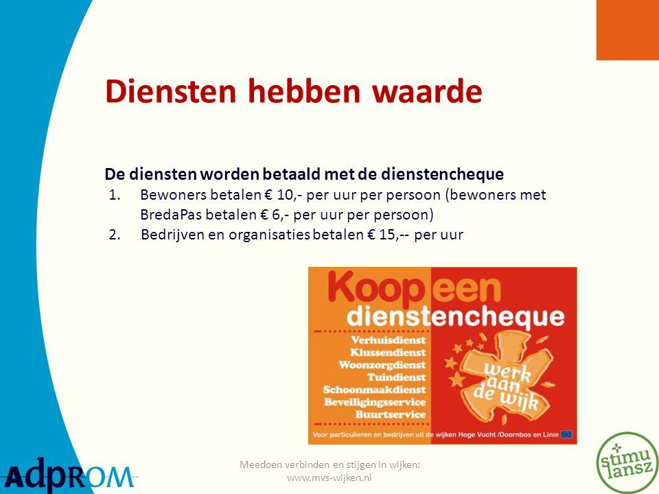 Diensten hebben waarde De diensten worden betaald met de dienstencheque 1.Bewoners betalen € 10,- per uur per persoon (bewoners met BredaPas betalen € 6,- per uur per persoon) 2.
