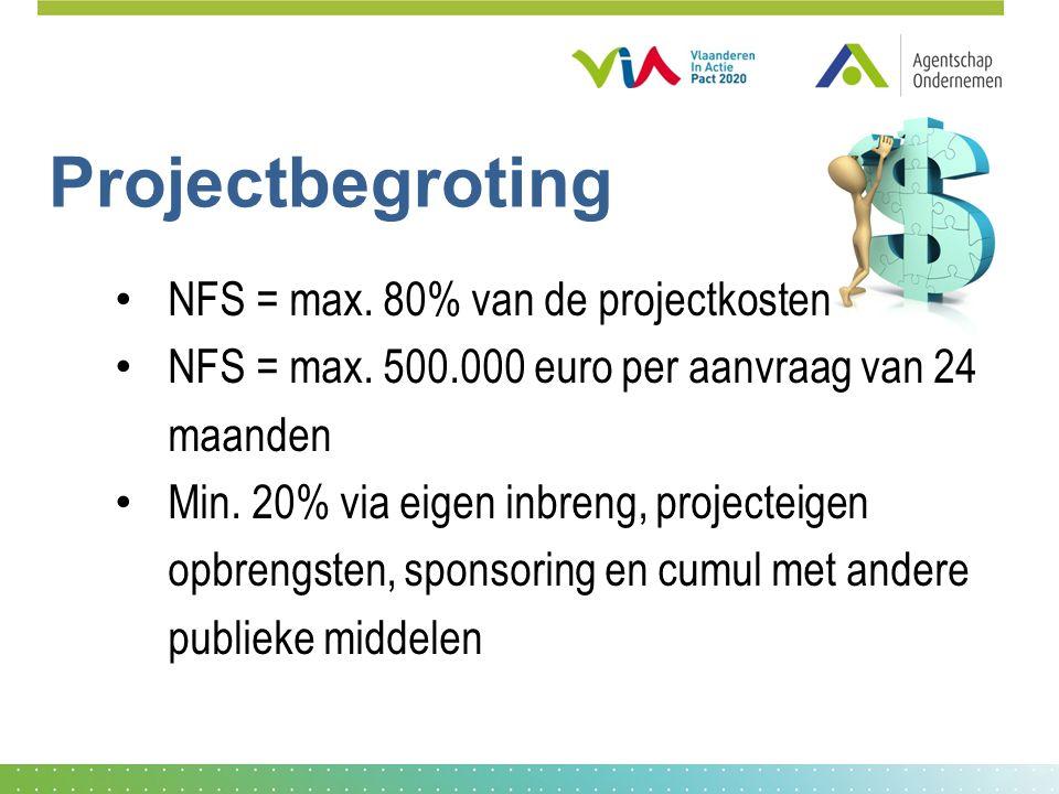 Projectbegroting NFS = max.80% van de projectkosten NFS = max.
