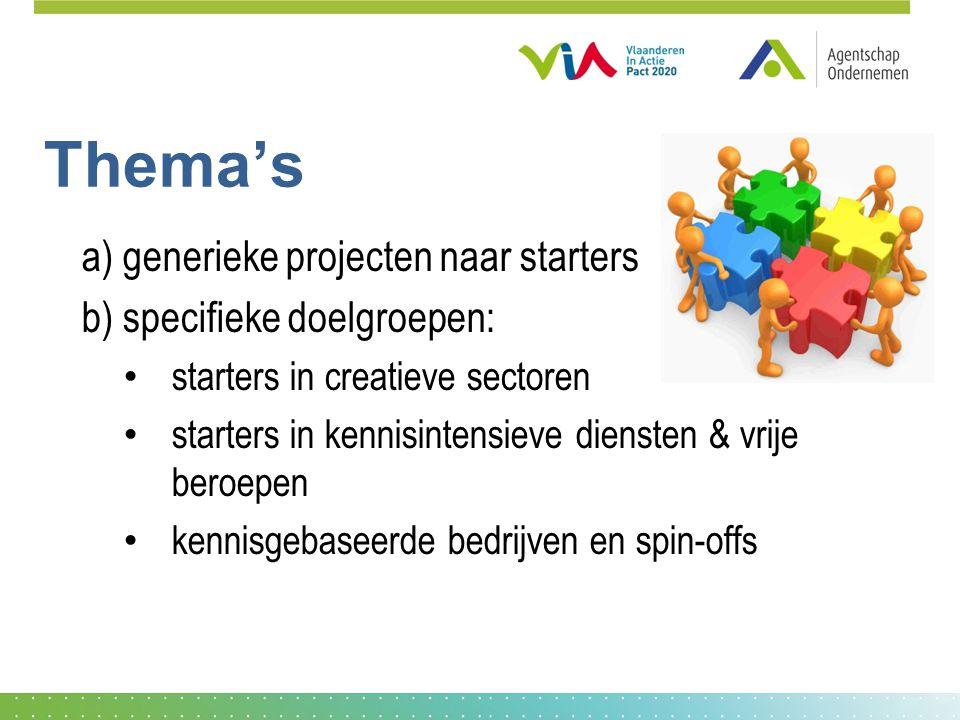Thema's a) generieke projecten naar starters b) specifieke doelgroepen: starters in creatieve sectoren starters in kennisintensieve diensten & vrije beroepen kennisgebaseerde bedrijven en spin-offs