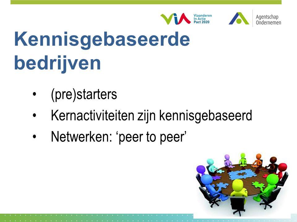 Kennisgebaseerde bedrijven (pre)starters Kernactiviteiten zijn kennisgebaseerd Netwerken: 'peer to peer'