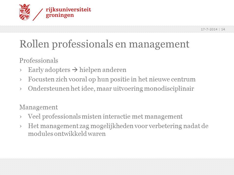 Rollen professionals en management Professionals ›Early adopters  hielpen anderen ›Focusten zich vooral op hun positie in het nieuwe centrum ›Onderst