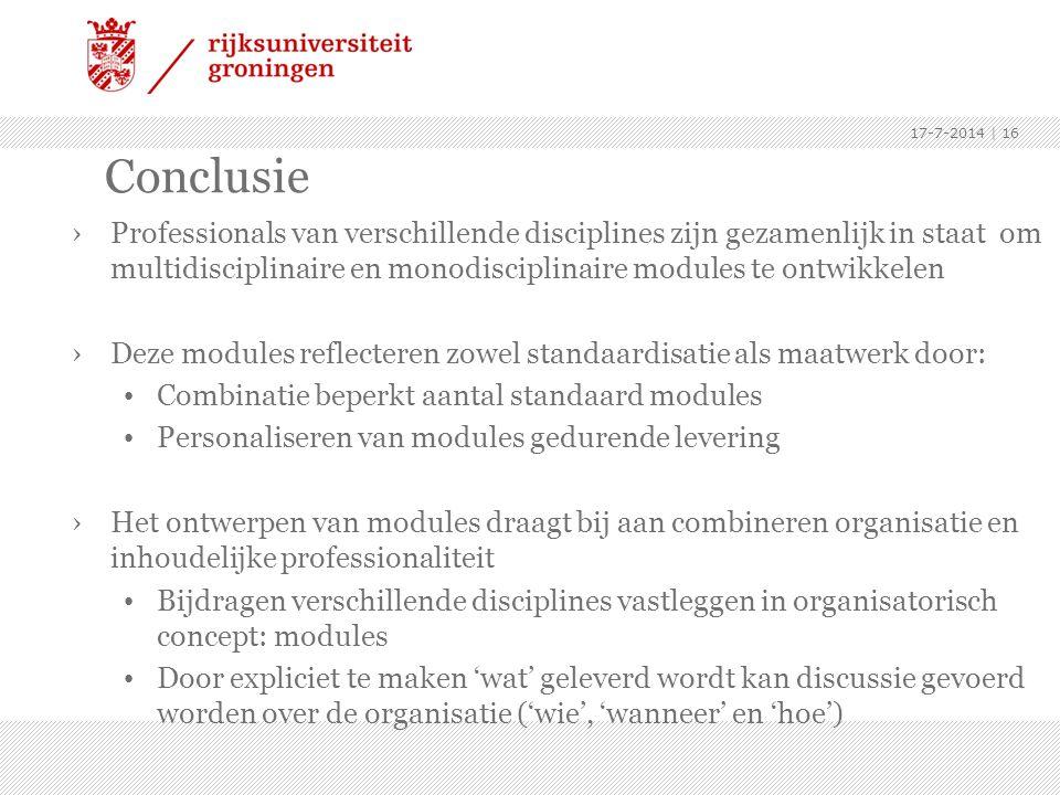 Conclusie ›Professionals van verschillende disciplines zijn gezamenlijk in staat om multidisciplinaire en monodisciplinaire modules te ontwikkelen ›De