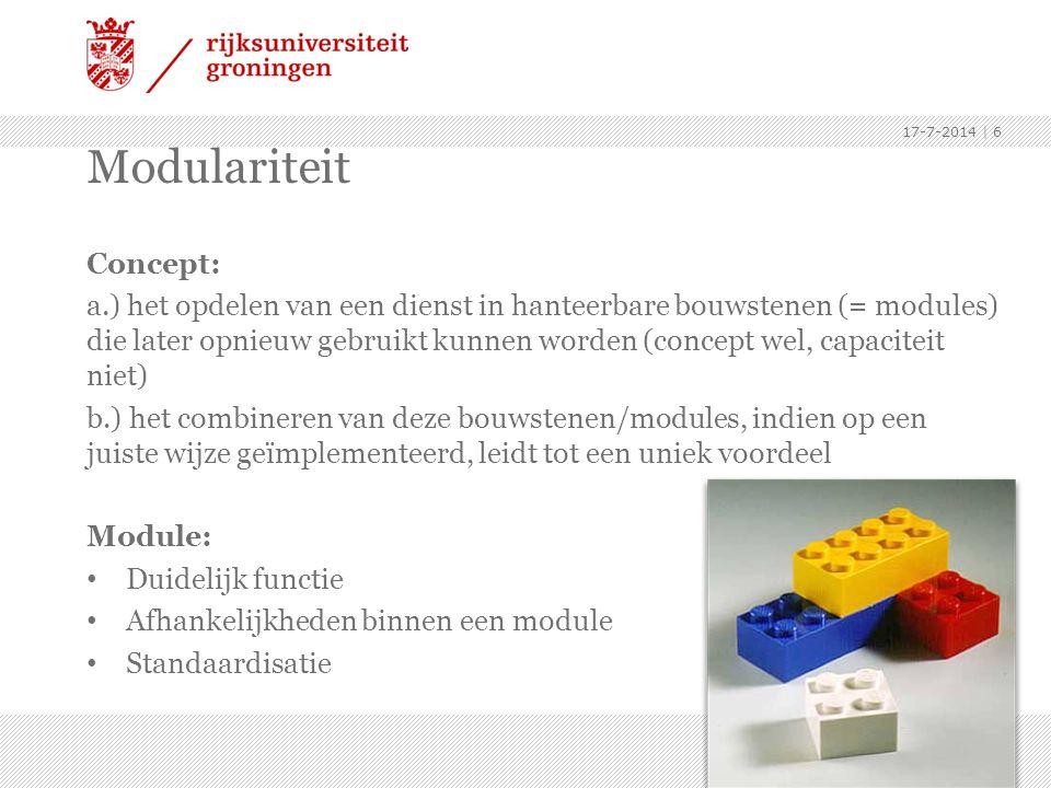 Concept: a.) het opdelen van een dienst in hanteerbare bouwstenen (= modules) die later opnieuw gebruikt kunnen worden (concept wel, capaciteit niet)