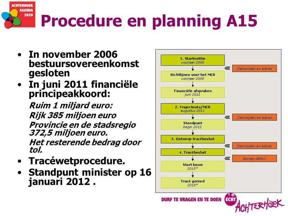 Procedure en planning A15 In november 2006 bestuursovereenkomst gesloten In juni 2011 financiële principeakkoord: Ruim 1 miljard euro: Rijk 385 miljoe