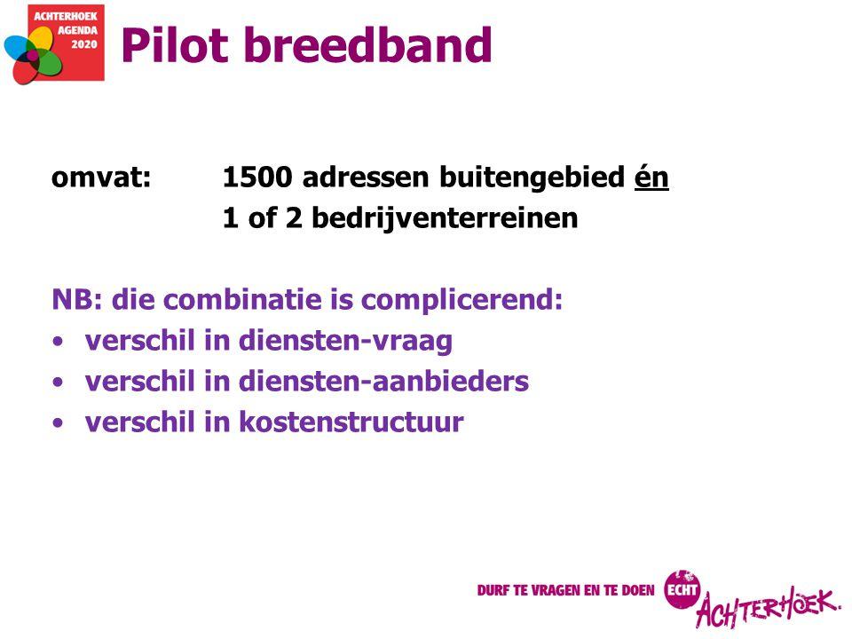 Pilot breedband omvat:1500 adressen buitengebied én 1 of 2 bedrijventerreinen NB: die combinatie is complicerend: verschil in diensten-vraag verschil