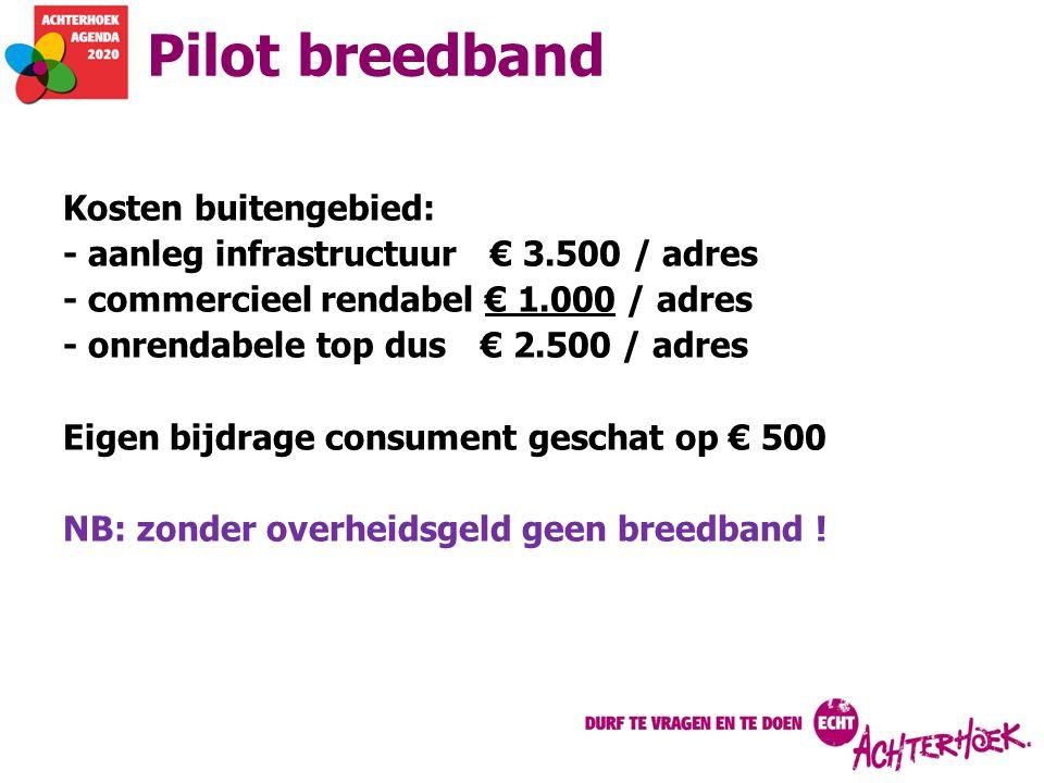 Pilot breedband Kosten buitengebied: - aanleg infrastructuur € 3.500 / adres - commercieel rendabel € 1.000 / adres - onrendabele top dus€ 2.500 / adr