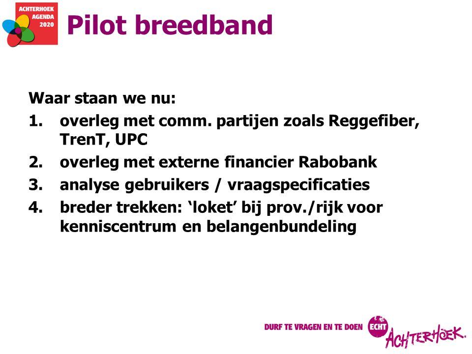 Pilot breedband Waar staan we nu: 1.overleg met comm. partijen zoals Reggefiber, TrenT, UPC 2.overleg met externe financier Rabobank 3.analyse gebruik