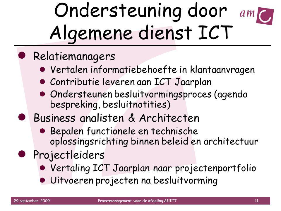 29 september 2009Procesmanagement voor de afdeling ADICT 11 Ondersteuning door Algemene dienst ICT ● Relatiemanagers ● Vertalen informatiebehoefte in