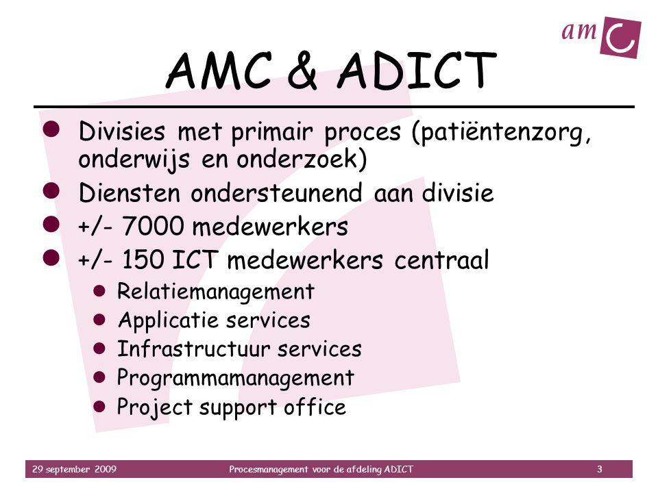 29 september 2009Procesmanagement voor de afdeling ADICT 3 AMC & ADICT ● Divisies met primair proces (patiëntenzorg, onderwijs en onderzoek) ● Dienste