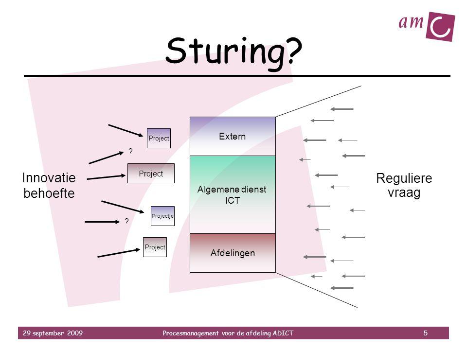 29 september 2009Procesmanagement voor de afdeling ADICT 5 Sturing? Algemene dienst ICT Extern Afdelingen Innovatie behoefte Reguliere vraag Project P