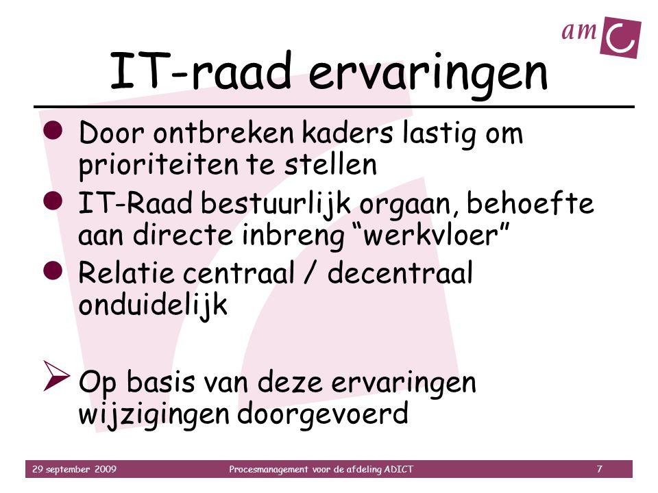 29 september 2009Procesmanagement voor de afdeling ADICT 7 IT-raad ervaringen ● Door ontbreken kaders lastig om prioriteiten te stellen ● IT-Raad best