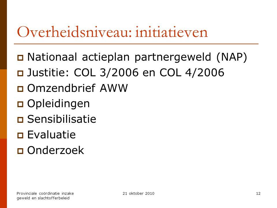 Provinciale coördinatie inzake geweld en slachtofferbeleid 21 oktober 201012 Overheidsniveau: initiatieven  Nationaal actieplan partnergeweld (NAP) 