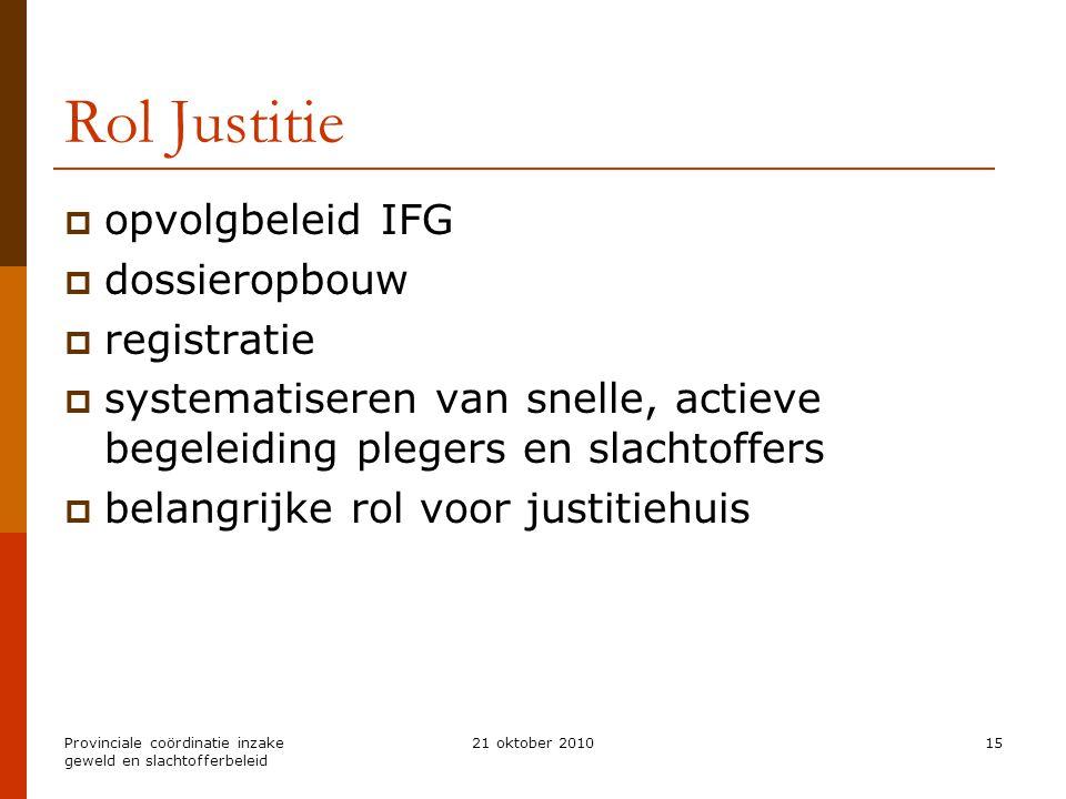 Provinciale coördinatie inzake geweld en slachtofferbeleid 21 oktober 201015 Rol Justitie  opvolgbeleid IFG  dossieropbouw  registratie  systemati