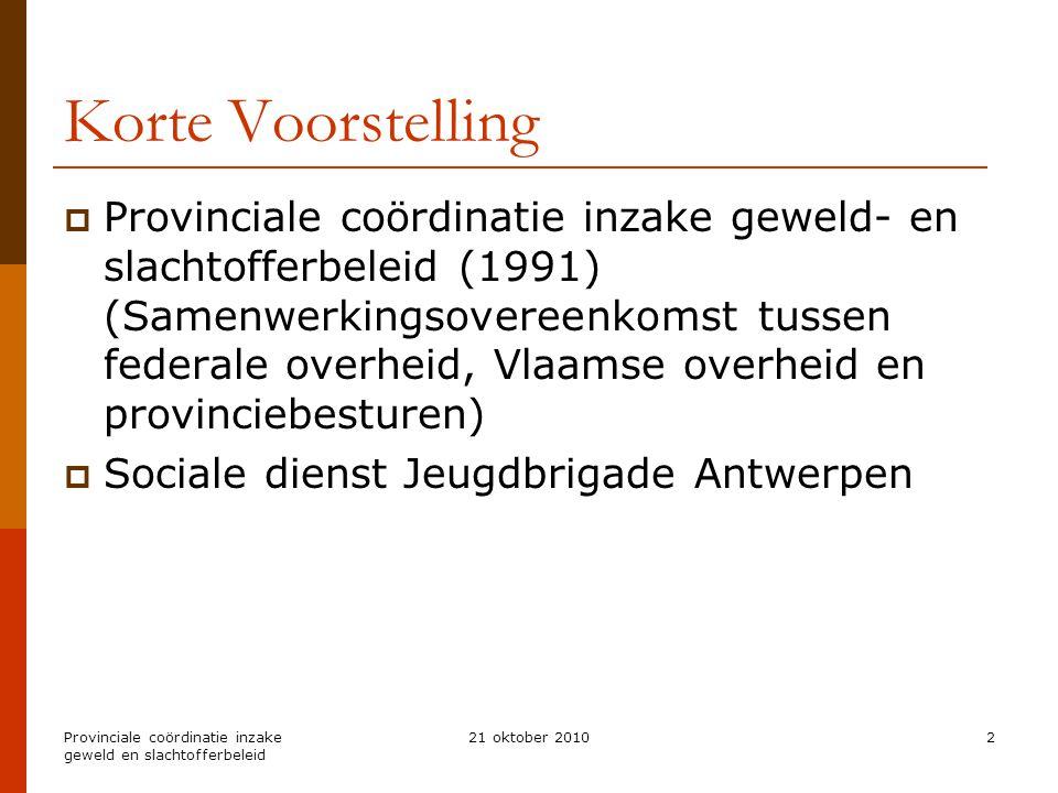 Provinciale coördinatie inzake geweld en slachtofferbeleid 21 oktober 20102 Korte Voorstelling  Provinciale coördinatie inzake geweld- en slachtoffer