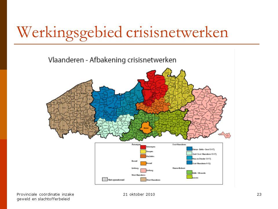 Provinciale coördinatie inzake geweld en slachtofferbeleid 21 oktober 201023 Werkingsgebied crisisnetwerken