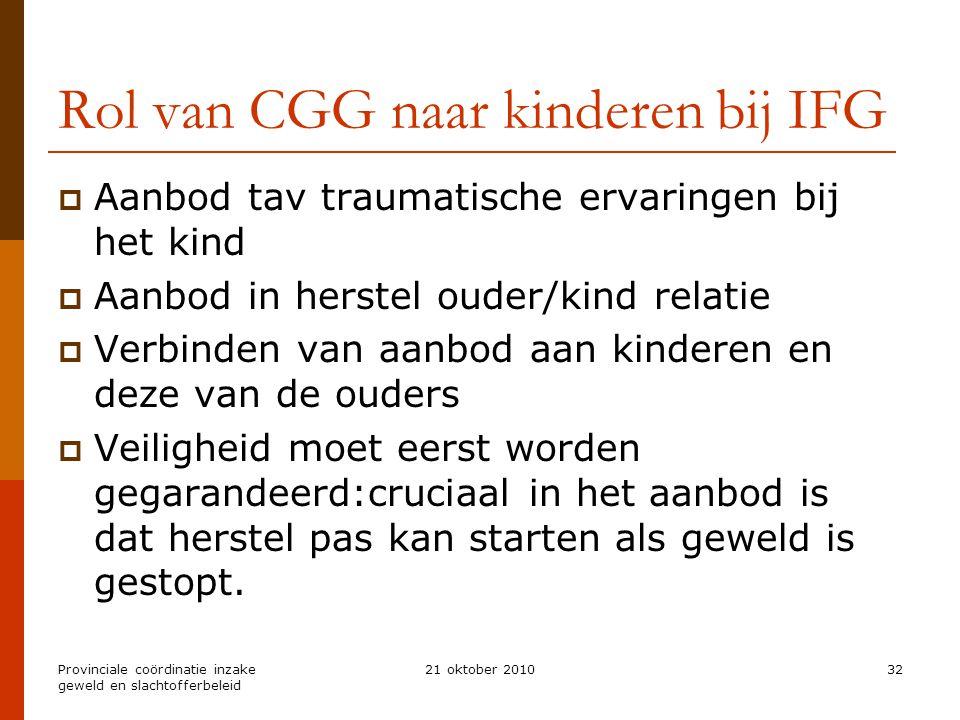 Provinciale coördinatie inzake geweld en slachtofferbeleid 21 oktober 201032 Rol van CGG naar kinderen bij IFG  Aanbod tav traumatische ervaringen bi