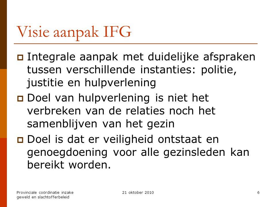 Provinciale coördinatie inzake geweld en slachtofferbeleid 21 oktober 20106 Visie aanpak IFG  Integrale aanpak met duidelijke afspraken tussen versch