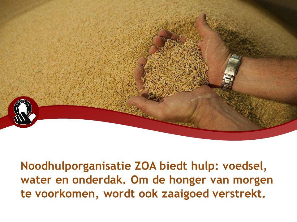 Noodhulporganisatie ZOA biedt hulp: voedsel, water en onderdak. Om de honger van morgen te voorkomen, wordt ook zaaigoed verstrekt.