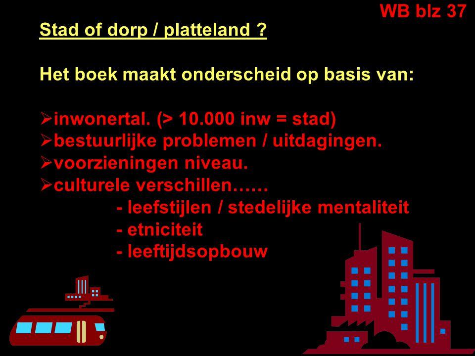 Stad of dorp / platteland .Het boek maakt onderscheid op basis van:  inwonertal.