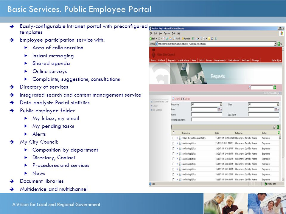 Basic Services. Public Employee Portal  Easily-configurable Intranet portal with preconfigured templates  Employee participation service with:  Are