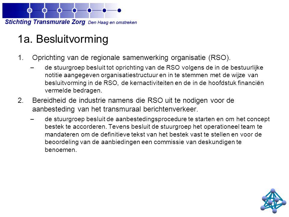 1a. Besluitvorming 1.Oprichting van de regionale samenwerking organisatie (RSO).