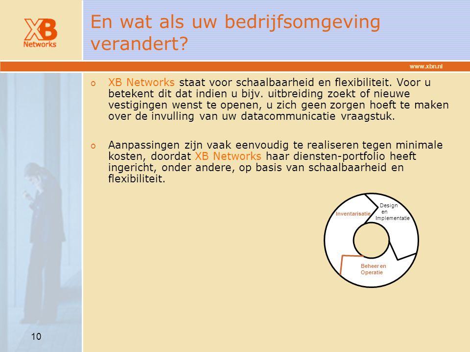 www.xbn.nl 10 En wat als uw bedrijfsomgeving verandert? o XB Networks staat voor schaalbaarheid en flexibiliteit. Voor u betekent dit dat indien u bij