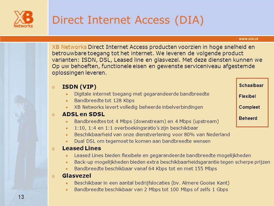 www.xbn.nl 13 Direct Internet Access (DIA) XB Networks Direct Internet Access producten voorzien in hoge snelheid en betrouwbare toegang tot het inter