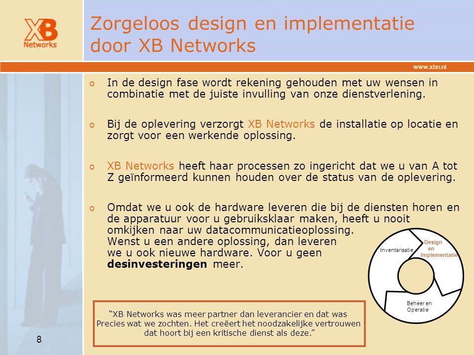 www.xbn.nl 8 Zorgeloos design en implementatie door XB Networks o In de design fase wordt rekening gehouden met uw wensen in combinatie met de juiste
