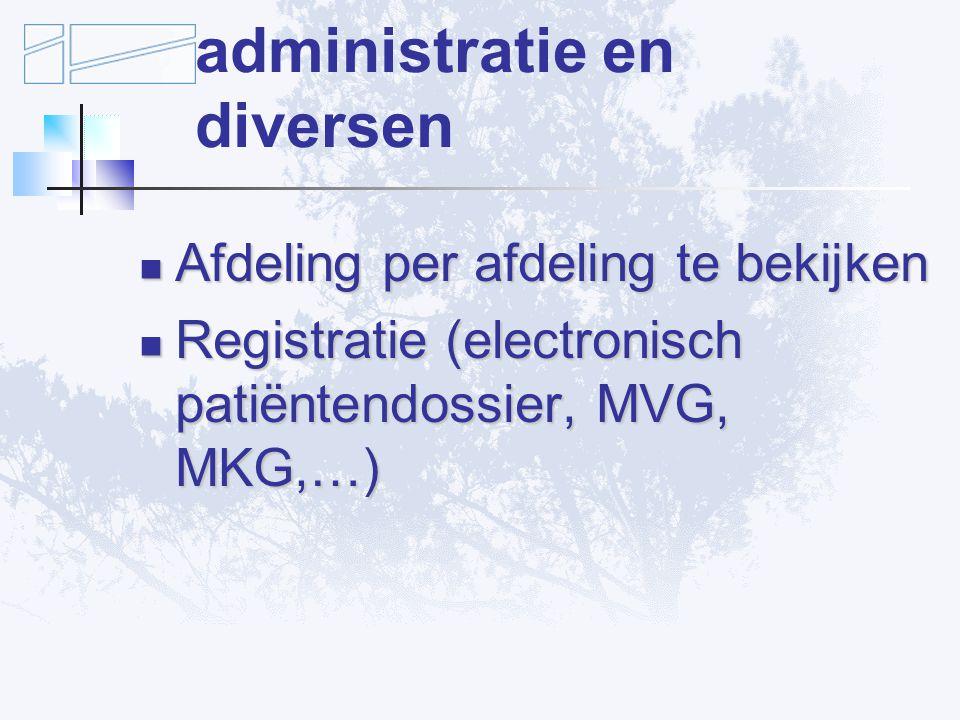 Verbetervoorstellen: administratie en diversen Afdeling per afdeling te bekijken Afdeling per afdeling te bekijken Registratie (electronisch patiëntendossier, MVG, MKG,…) Registratie (electronisch patiëntendossier, MVG, MKG,…)