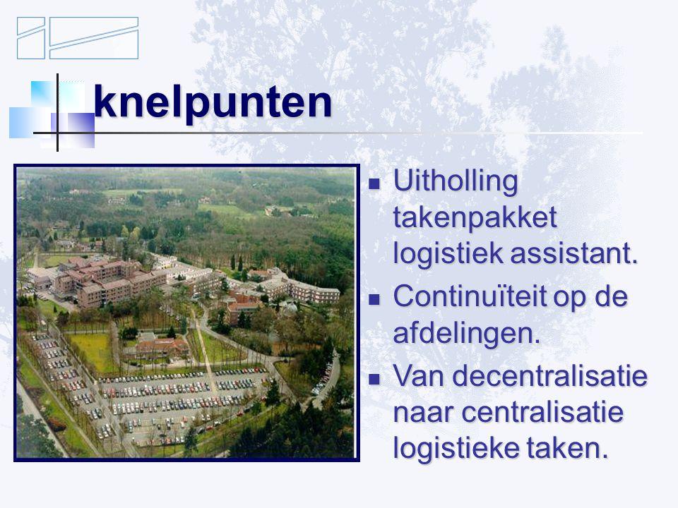 knelpunten Uitholling takenpakket logistiek assistant.