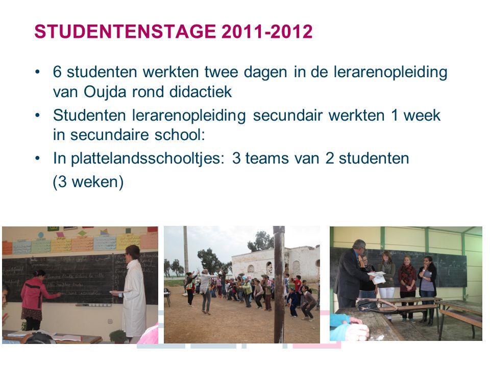 4 STUDENTENSTAGE 2011-2012 6 studenten werkten twee dagen in de lerarenopleiding van Oujda rond didactiek Studenten lerarenopleiding secundair werkten