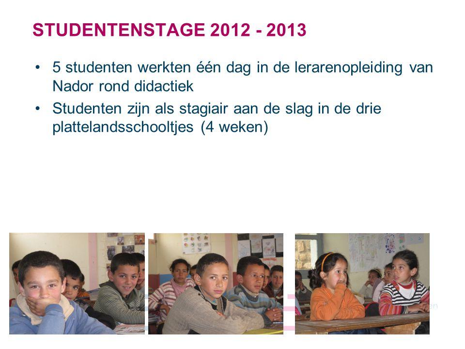 5 STUDENTENSTAGE 2012 - 2013 5 studenten werkten één dag in de lerarenopleiding van Nador rond didactiek Studenten zijn als stagiair aan de slag in de