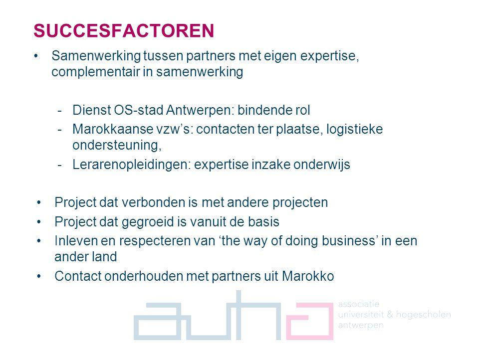 7 Samenwerking tussen partners met eigen expertise, complementair in samenwerking -Dienst OS-stad Antwerpen: bindende rol -Marokkaanse vzw's: contacte