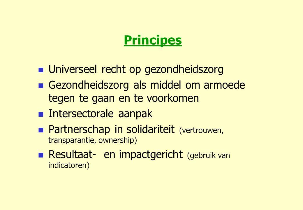 Principes Universeel recht op gezondheidszorg Gezondheidszorg als middel om armoede tegen te gaan en te voorkomen Intersectorale aanpak Partnerschap in solidariteit (vertrouwen, transparantie, ownership) Resultaat- en impactgericht (gebruik van indicatoren)