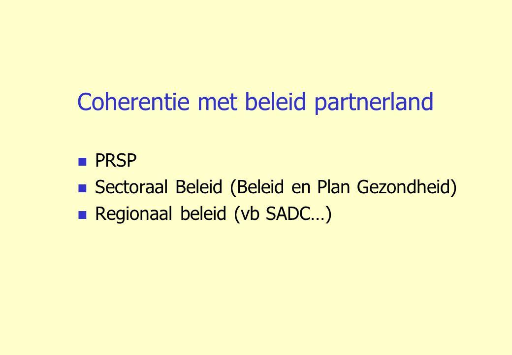 Coherentie met beleid partnerland PRSP Sectoraal Beleid (Beleid en Plan Gezondheid) Regionaal beleid (vb SADC…)