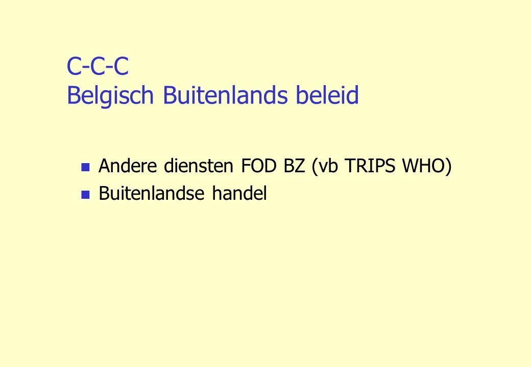 C-C-C Belgisch Buitenlands beleid Andere diensten FOD BZ (vb TRIPS WHO) Buitenlandse handel