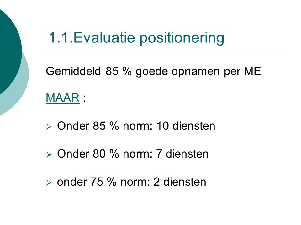 1.1.Evaluatie positionering Gemiddeld 85 % goede opnamen per ME MAAR :  Onder 85 % norm: 10 diensten  Onder 80 % norm: 7 diensten  onder 75 % norm: