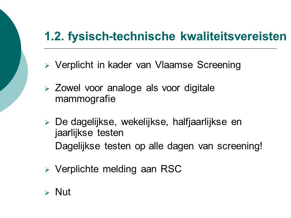 1.2. fysisch-technische kwaliteitsvereisten  Verplicht in kader van Vlaamse Screening  Zowel voor analoge als voor digitale mammografie  De dagelij